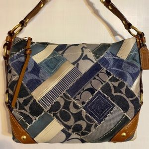 Coach Signature Patchwork Denim Hobo Handbag